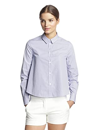 Band of Outsiders Women's Cropped Boxy Shirt (Navy Poplin)