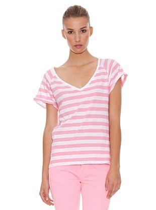 Hakei Camiseta Pico Rayas Flúor (Rosa)