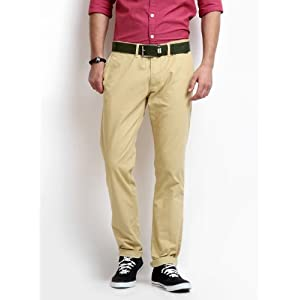 Highlander Men Beige Italian Slim Fit Chinos
