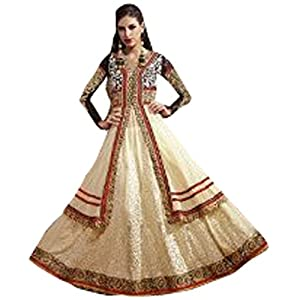 Marvelous Cream Net Anarkali Salwar Kameez-TBSUETH7271