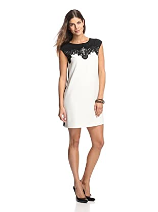 Julia Jordan Women's Two-Tone Dress with Lace (Ivory/Black)