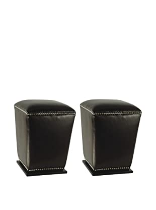 Safavieh Set of 2 Mason Ottomans, Black