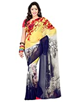 Admyrin Multi Colour Georgette Saree with Pink Blouse Piece