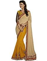 Indian Women Ravishing Fancy Jacquard Yellow Saree with Blouse