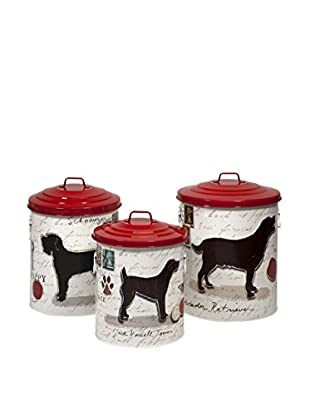 Set of 3 Dog Food Storage Canisters with Red Lids