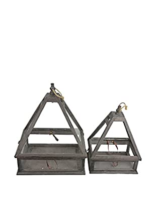 Set of 2 Natural Pyramid Lanterns