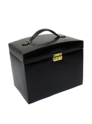 Morelle & Co. Jackquilyn Small Leather Illuminated Jewelry Box, Black