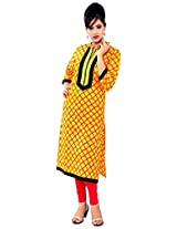 Aakashi Women's Printed Kurti (AAK052_Yellow_Large)