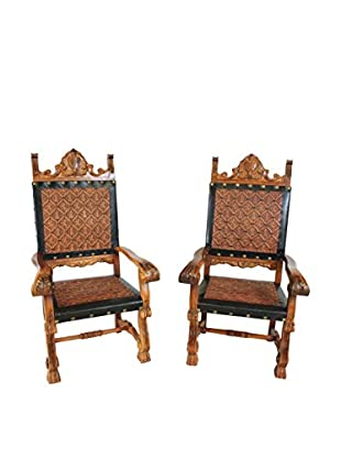 Set of 2 Spanish Leather Chairs