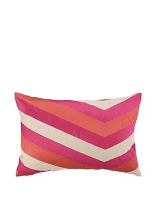 Iza Pearl Calypso Stripe Embellished Down Pillow, Pink, 14