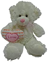 Play-N-Pets Beige Bear with Heart Small, White (25cm)