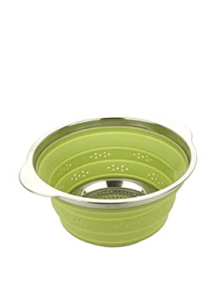 MIU France Collapsible Silicone Colander with Stainless Steel Rim (Green)