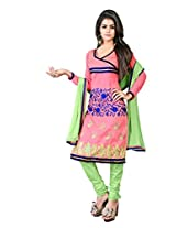Manvaa Women's Unstitched Dress Material (Pink Green_Free Size)