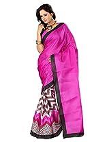 Parchayee Raw Silk Chevron Print Saree With Blouse Piece (93731 -Pink)