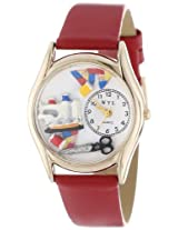 Whimsical Watches Women's C0440004 Classic Gold Quilting Red Leather And Goldtone Watch