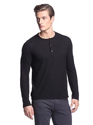 Vince Men's Long Sleeve Slub Jersey Henley (Black)