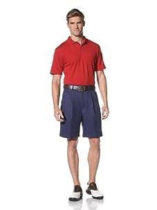 PGA Tour Men's Double Pleat Microfiber Short (Medieval Blue)