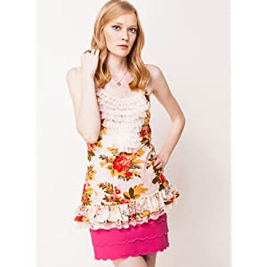 Mesh Ruffle Racer Back Tank Top With Floral Print