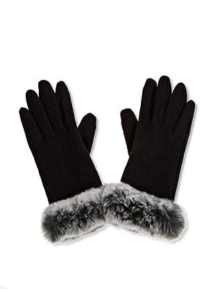 Maya Handschuh mit Echtfellborte (Schwarz)