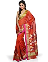 Utsav Fashion Women's Orange Dual Tone Pure Chanderi Silk Handloom Saree with Blouse