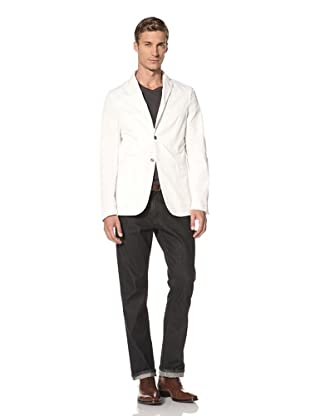 Pal Zileri Lab Men's Two-Button Blazer with Patch Pockets (White)