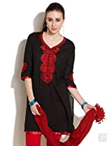 Embroidered V-neck Kurta