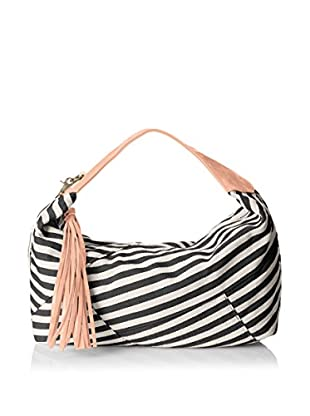 POVERTY FLATS by rian Women's Stripey Hobo, Black/Coral