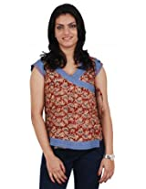 Morph Short Printed Red Kurta (Small)