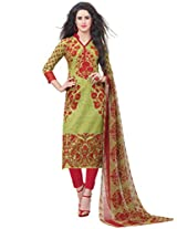 Inddus Women Green & Red Colored Cotton Blend Printed Dress Material