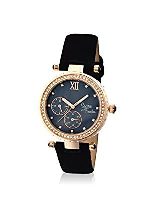 Sophie and Freda Women's SF3006 Montreal Black/Rose Leather Watch