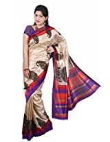 Manisha Pashmina Silk Self Print Purple Saree (6.2 mtrs)