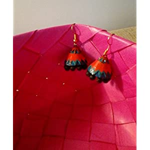 Artistri Orange and turquoise blue conical layered jhumkas with hooks