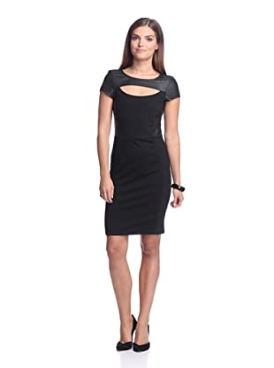 AS by DF Women's Alessandra Ponte Dress with Leather Trim (Black)