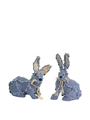 Melrose International Set of 2 Denim Bunnies