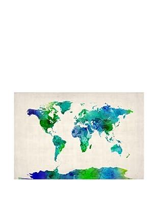 Trademark Fine Art World Map Watercolor by Michael Tompsett