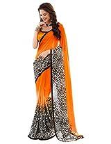 Brijraj Black White Orange Poly Georgette Beautiful Printed Saree With Unstitch Blouse