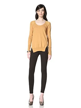 Central Park West Women's Bryant Park Mixed Material Back Sweater (Ochre)