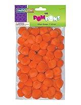 """Creativity Street Pom Pons 100-Piece x 1"""" Orange"""