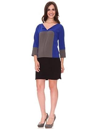Cortefiel Vestido Color Block (Azul)