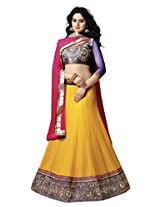 7 Colors Lifestyle Yellow Coloured Net Embroidered Semi-Stitched Lehenga Choli