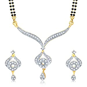 Sukkhi Graceful Gold and Rhodium Plated Cubic Zirconia Stone Studded Mangalsutra Set