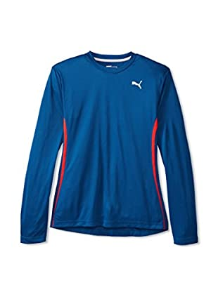 PUMA Men's PE Running Long Sleeve Flatlock Tee (Poseidon/Puma Red)