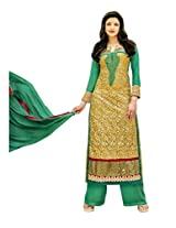 Hina Women Embroidered Georgette Semi Stitched Dress Material