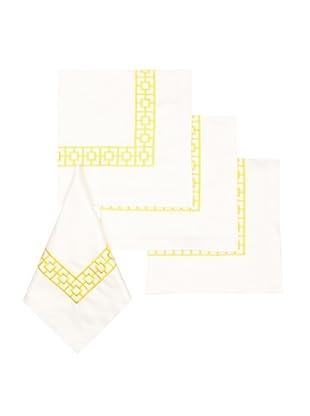 Trina Turk Set of 4 Palm Spring Blocks Embroidered Napkins (Yellow)