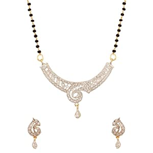 Voylla Single Chain Mangalsutra with Sparkling Arch Inspired Design, Dainty Drop