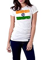 "Tricolor Nation India Pride T-shirt ""Brushed Tricolor"" for Women"