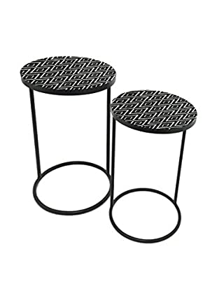 Three Hands Set of 2 Metal Tables, Black