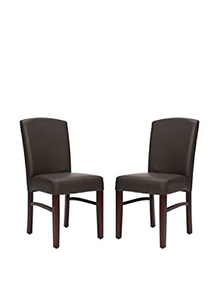 Safavieh Set of 2 Kevin Bicast Leather Side Chairs, Dark Brown