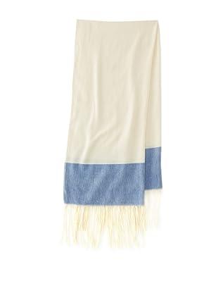 Mili Designs Women's Essouria Striped Cotton Scarf (Cream/Blue)