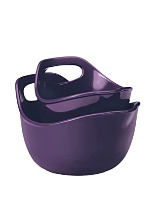 Rachael Ray Stoneware 2-Piece Set:  1 Qt. & 2 Qt. Mixing Bowls (Purple)